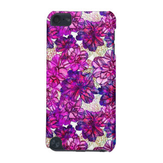 Pink And Purple Abstract Flowers Pattern iPod Touch 5G Covers