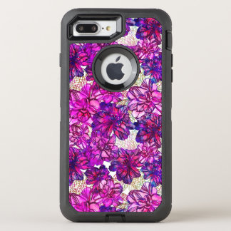 Pink And Purple Abstract Flowers Pattern OtterBox Defender iPhone 8 Plus/7 Plus Case
