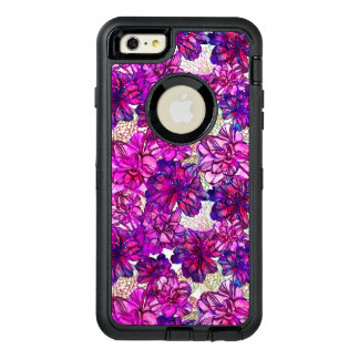 Pink And Purple Abstract Flowers Pattern OtterBox Defender iPhone Case