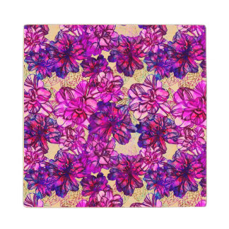 Pink And Purple Abstract Flowers Pattern Wood Coaster