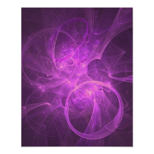 Pink and Purple Abstract Fractal with Circles Poster