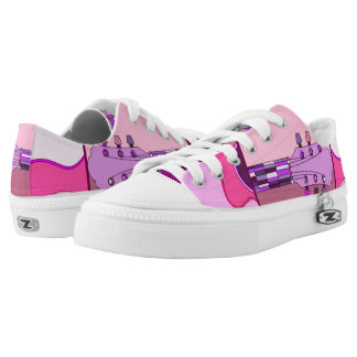 Pink and Purple Abstract Guitar Music Themed Low Tops