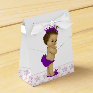 Pink and Purple African American Baby Girl Shower Favour Box
