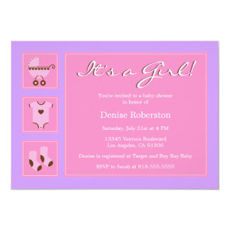 Pink and Purple  - Baby Shower Invitation