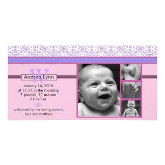 pink and purple bandana pattern baby announcement personalized photo card