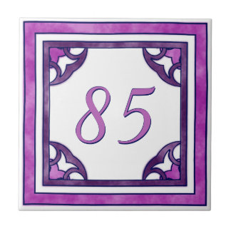 Pink and Purple Big House Number Small Square Tile