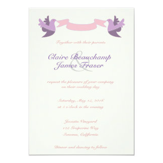 Pink and Purple Birds Wedding Card