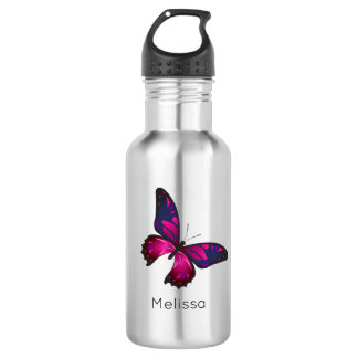 Pink and Purple Buttefly Personalized 532 Ml Water Bottle