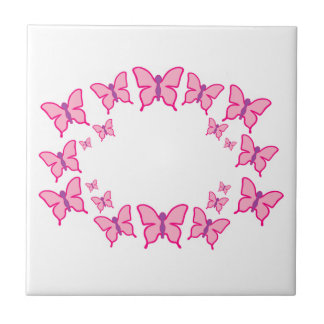 Pink and Purple Butterflies Ceramic Tile