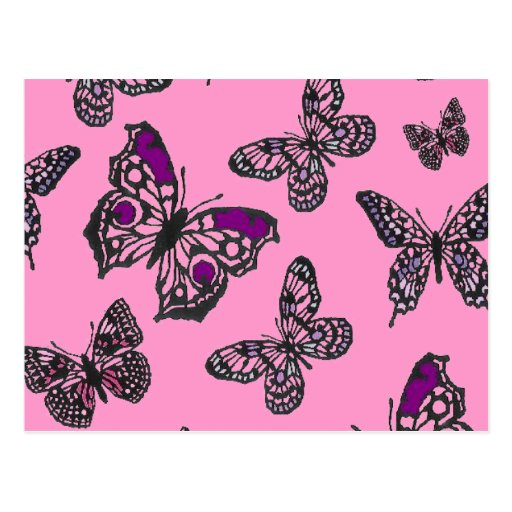 Pink and Purple Butterflies Postcard