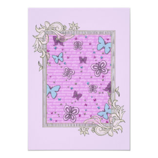 Pink And Purple Butterfly Card