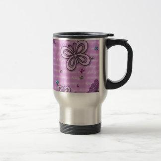 Pink And Purple Butterfly Pattern Travel Mug