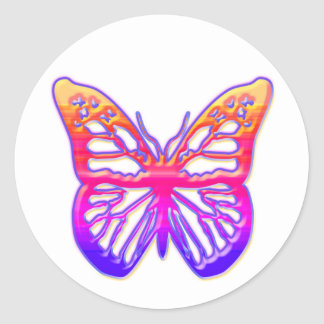 Pink and Purple Butterfly Round Sticker