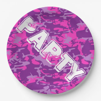 Pink and Purple Camo 9 Inch Paper Plate