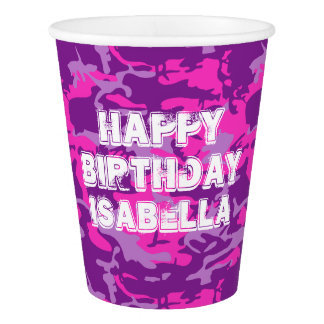 Pink and Purple Camo Paper Cup