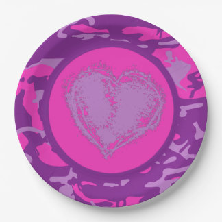 Pink and Purple Camo with Heart Paper Plate