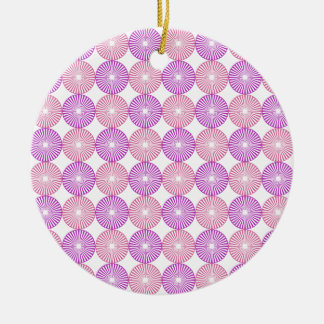 Pink and purple circles pattern round ceramic decoration