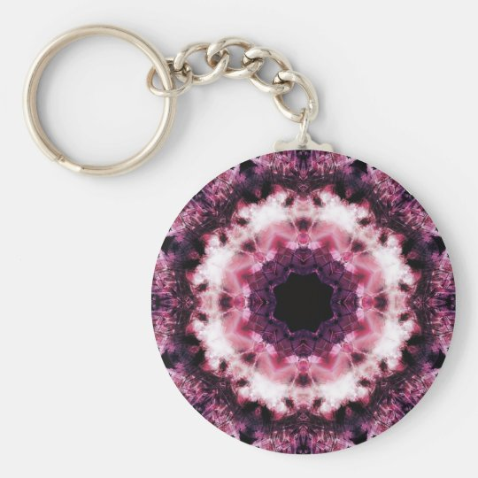 Pink and Purple Crystal Mandala Keychain
