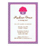 Pink and Purple Cupcake Polka Dot Birthday Party Invites
