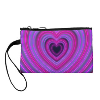 Pink and Purple Cute Girly Neon Hearts Coin Wallet