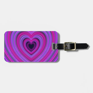 Pink and Purple Cute Girly Neon Hearts Luggage Tag