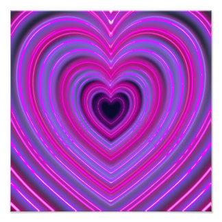 Pink and Purple Cute Girly Neon Hearts Photographic Print