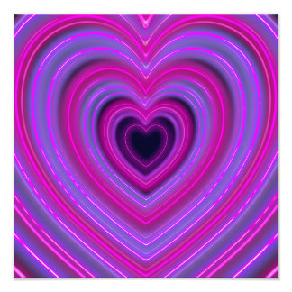 Pink and Purple Cute Girly Neon Hearts Photo