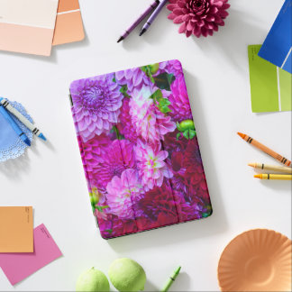 Pink and purple dahlia flowers iPad air cover