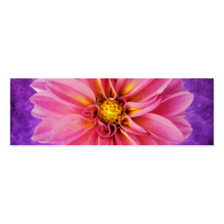 Pink and purple dahlia on hand painted background business card templates