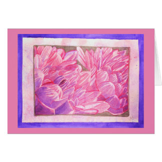 Pink and Purple Dahlias Watercolor Greeting Card