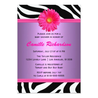 Pink and Purple Daisy Baby Shower Invitation