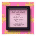 Pink and Purple Damask Bachelorette Party Invitati 5.25x5.25 Square Paper Invitation Card