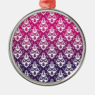 Pink and Purple Damask Pattern Ornaments