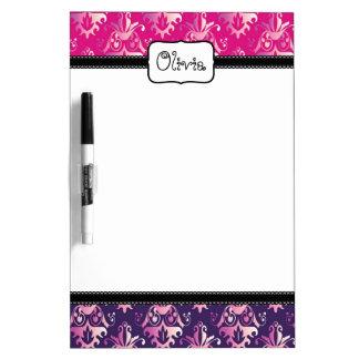 Pink and Purple Damask Pattern Dry Erase Whiteboards