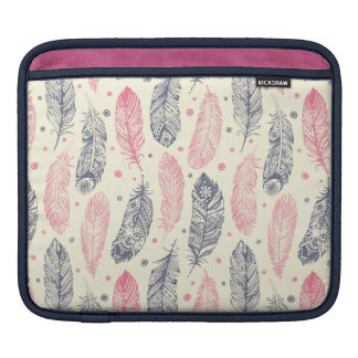Pink And Purple Ethnic Feather Pattern iPad Sleeve