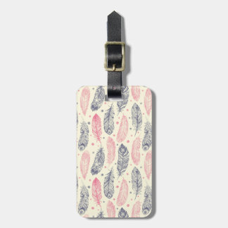 Pink And Purple Ethnic Feather Pattern Luggage Tag