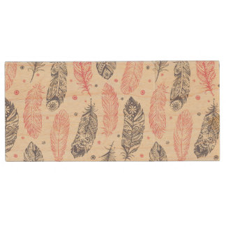 Pink And Purple Ethnic Feather Pattern Wood USB 2.0 Flash Drive