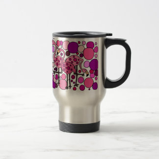 Pink and Purple Flamingo Art Travel Mug
