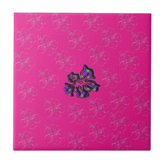 Pink and Purple Floral Hibiscus Flower Tiles