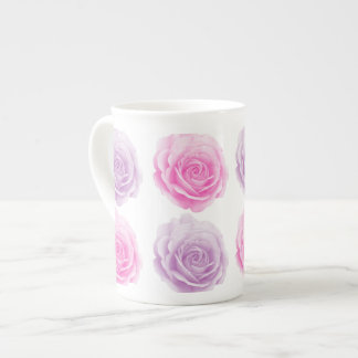 Pink and purple floral pattern tea cup
