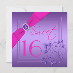 Pink and Purple Floral Sweet Sixteen Invitation