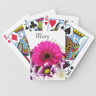 Pink and Purple Flower Bouquet Bicycle Playing Cards