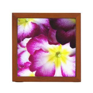 Pink And Purple Flower Design Desk Organiser