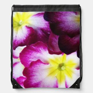 Pink And Purple Flower Design Drawstring Bag