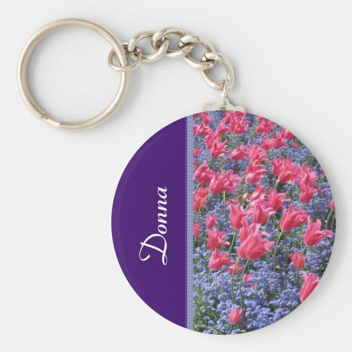 Pink and purple flower field keychains