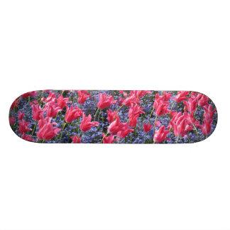 Pink and purple flower field skateboard decks