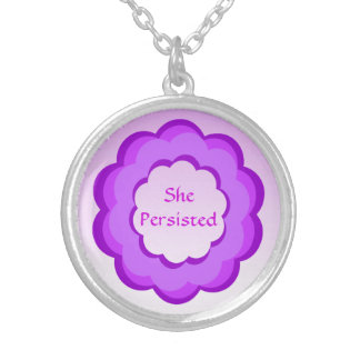 Pink and Purple Flower She Persisted Necklace