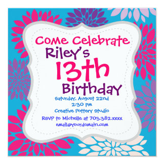 Pink and Purple Flowers on Teal Blue 13 Cm X 13 Cm Square Invitation Card