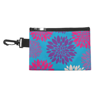 Pink and Purple Flowers on Teal Blue Accessory Bag