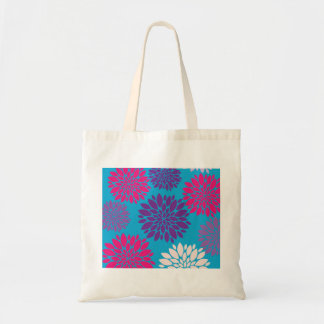 Pink and Purple Flowers on Teal Blue Bags